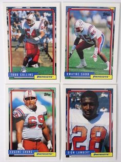1992 Topps High Number Series New England Patriots Team Set of 4 Football Cards #NewEnglandPatriots