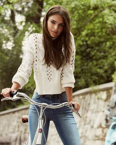 Emily Ratajkowski - crocheted cable knit mock neck abbreviated sweater