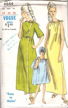 1960s Vogue 6644 Misses Easy to Make Drawstring A Line Nightgown by mbchills