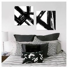 "Abstract Black and White 22""x22"" 2-Pack Embellished Canvas - Threshold™ : Target"