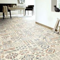Sol PVC Lino - Imitation Carreaux de ciment naturel - Larg. 2m