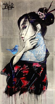 View LOUI JOVER's Artwork on Saatchi Art. Find art for sale at great prices from artists including Paintings, Photography, Sculpture, and Prints by Top Emerging Artists like LOUI JOVER. Japanese Drawings, Japanese Artwork, Art Geisha, Geisha Drawing, Art Sketches, Art Drawings, Arte Punk, Arte Indie, Samurai Artwork