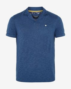 Trophy neck polo shirt - Dark Blue | Tops & T-shirts | Ted Baker UK