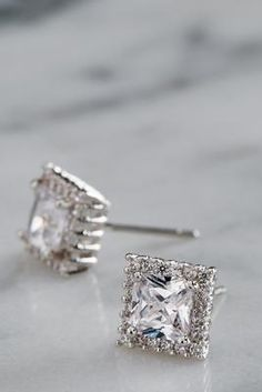 princess cut stud earrings