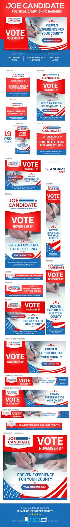 Joe Candidate - Campaign Banner Ads Template PSD