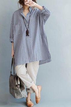 Grid Casual Loose Big Pocket Shirt Summer and Spring Women Top Q3109