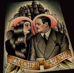 Image of Adams Family Morticia and Gomez Tattoo Art Print by Quyen Dinh