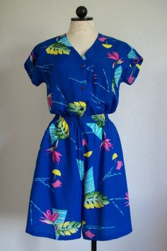 Hilo Hattie's Hawaii Blue Beach Print Vintage One Piece Romper- Small, $25.00