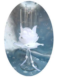 Цветочный декор свадебного бокала - Ярмарка Мастеров - ручная работа, handmade