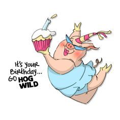 Hog Wild Birthday Cling Rubber Stamp Set by Art Impressions (4008334)