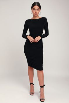 Sexy Black Dress - Long Sleeve Dress - Ruched Dress - Black Dress
