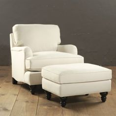 Eton Club Chair and ottoman. Our new chair. My Living Room, Living Room Chairs, Home And Living, Living Room Furniture, Home Furniture, Modern Living, Furniture Design, Chair And Ottoman, Upholstered Chairs