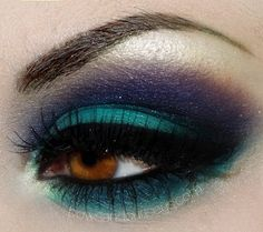 Make those brown eyes POP with indigo and turquoise. WOWZAZ.