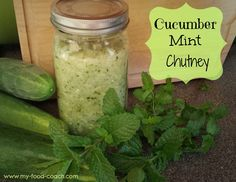 Cucumber Mint Relish  2-3 cucumbers, peeled  1 small onion, roughly chopped  1-2 jalapenos, seeded  3 Tbsp lime juice  ¼ cup mint leaves, loosely packed  1 tsp sea salt  3 Tbsp water