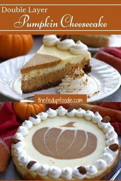 This Double Layer Pumpkin Cheesecake recipe is a unique and delicious Thanksgiving delight. A layer of cheesecake and a layer of pumpkin cheesecake on top of a delicious ginger snap graham cracker pecan crust create a special and elegant dessert. #LayeredPumpkinCheesecake #Cheesecake #PumpkinCheesecake #PumpkinSwirlCheesecake #MarbledPumpkinCheesecake #ThanksgivingPumpkinCheesecake #HolidayCheesecakes #PumpkinDesserts #ThanksgivingDesserts