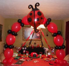 Ladybug Cake Table Balloon Arch
