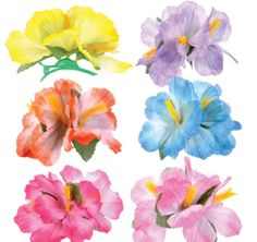 $10.49For:12 Hibiscus Hair Clips ~ Assorted Colors ~ Plastic Clips ~ New #RI