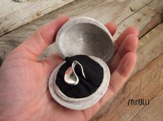 stony box for engagement ring - creamy sea pebble