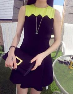 $6.76 Color Block All-Match Casual Round Neck Sleeveless Dress For Women