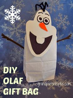 This Olaf Gift Bag makes a cute craft for kids to do at a Frozen party! If the kids are too small to handle the small pieces, just make the bags ahead of time to hand out as treat bags