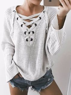 trendy+outfit+/+lace+up+sweater+++denim+shorts