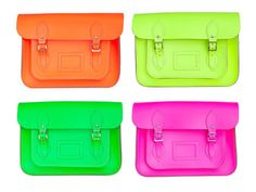Grab a bright bag for an instant pop of color to liven up any neutral outfit-- Neon bags, Cambridge Satchel Company