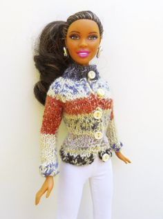 Jacquard knitted cardigan for Barbie doll