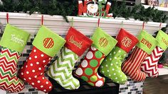 Tis the season with these whimsical Christmas stockings. They will add the perfect addition to your holiday decor! Available in seven different designs, these Christmas stockings are the perfect mantel decoration! Name Embroidered or Monogrammed FREE!!  Heres more information on our personalized Christmas Stockings: • 18 H x 8 W at top Please leave the following info in the Note to Seller Section at checkout Name of pattern choice Font choice Name or monogram on stocking. If monogram, pleas…