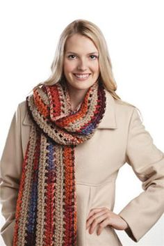 Lengthwise Crochet Scarf  Loops & Threads - Charisma yarn  Project Instructions