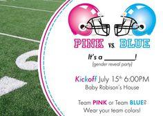 Custom DIY printable pink vs. blue football themed gender reveal party invitation. $13.99, via Etsy.
