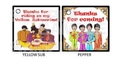 24 Yellow Submarine Sgt Pepper Beatles gift hang tags BIRTHDAY PARTY favors