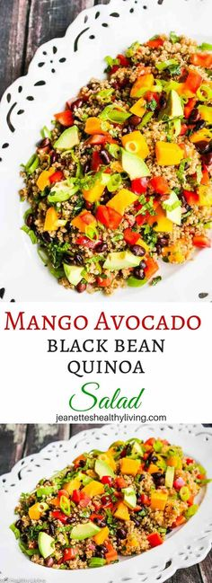 Mango Avocado Black Bean Quinoa Salad is a healthy and hearty salad, perfect as a vegetarian or vegan main course salad or as a side dish.