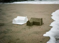The American Dream: A Sand Castle Suburb Consumed by the Ocean waves sand real estate multiples money installation