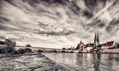 Regensburg Steinerne Brücke, Dom.