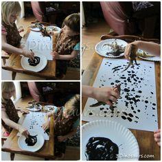 "Dinosaur tracks with paint ("",)"