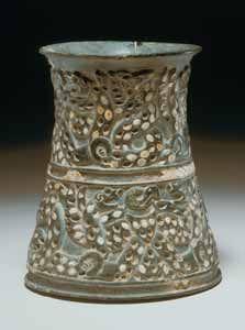 "Chlorite vase X.0315 W Origin: Near East Circa: 3000 - 2000 BC Height: 5.85"" (14.9cm) Collection: Near Eastern Medium: Chlorite Location: Great Britain"