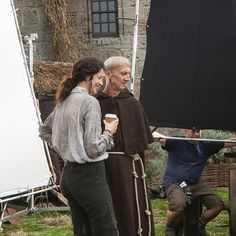 This lass deserves a coffee break. #Outlander #BehindTheScenes | Caitriona Balfe with Ian Hanmore