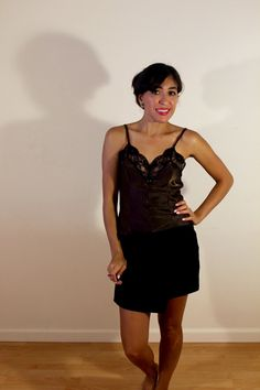 1960s Vintage Brown Camisole with Black Lace by VintageRevival818 on Etsy