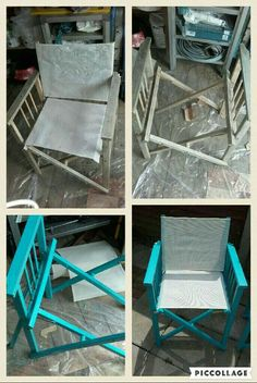Directors chair recover i have 2 of these sitting in my storage my director chair needed a makeover some sanding down and two coats of beach blue paint later delighted with the result looks brand new solutioingenieria Choice Image