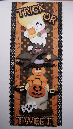 Halloween Pre Made Vertical Border Trick or by scrappinwithmom, $12.99