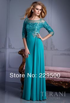 Elegant beautiful A-line long half sleeve crystal prom gown mother of the bride dresses plus size formal evening wear US $124.00