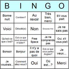 French Phrases Bingo Card