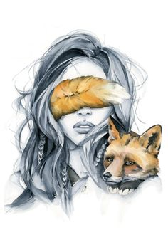Fox blindfolded girl from my wall art print collection. Art Sketches, Art Drawings, Watercolor Paintings, Original Paintings, Watercolour, Arte Obscura, Bright Art, Fox Art, Cute Art