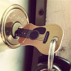 An Acoustic Guitar key looks quite similar to a real guitar and it's not gonna be a keychain only but a working key to open your doors to a rocking world. For music lovers, this could be an interesting gift idea. Match your key type first. Music Is Life, My Music, House Music, Guitar Keys, Guitar Art, Music Guitar, Buy Guitar, Guitar Gifts, Guitar Room