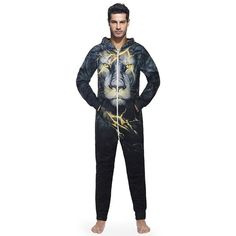 Lion Onesie Pajama Lightning Lion Onesie Pajama for Adults. Who wants to wear lion costume? Get electrified or Roar with this awesome Lion. Long Jumpsuits, Playsuits, Romper Men, One Piece Man, Lion Print, Onesie Pajamas, Party Suits, Family Costumes, Printed Jumpsuit