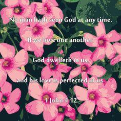 1 John 4:12 with Pink shamrock blooms print, framed print, canvas print, tin print, acrylic print, greeting card, wall art, wall décor, scripture print, Christian print, Christian art, scripture art