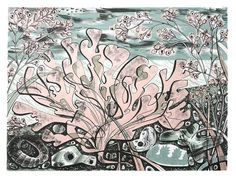 Angie Lewin - Stormy Beach, Norfolk - lithograph