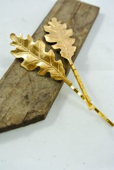 2 Luxe Golden Oak Leaves Bobby Pins Woodland Hair by luxebuffalo, $11.95