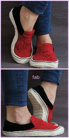 I love crochet slippers that look like shoes. Vans Style Slippers Crochet Pattern, Comfortable unisex adult slippers that look great! Crochet Slipper Pattern, Knitted Slippers, Crochet Slippers, Crochet Sandals Pattern, Crochet Slipper Boots, Knit Socks, Love Crochet, Crochet Baby, Crochet Style