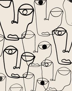 One line art faces by shatha Al Dafai Face Doodles, Face Line Drawing, Illustrations, Illustration Art, Abstract Face Art, Art Background, Fabric Painting, Doodle Art, Creative Art